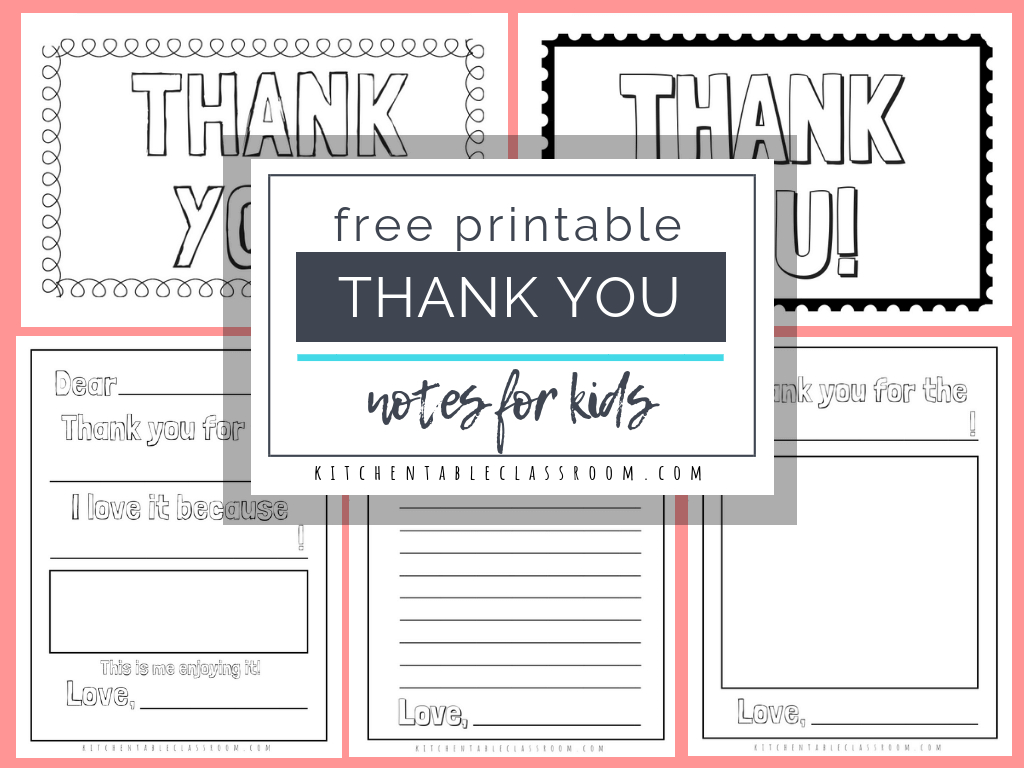 Printable Thank You Cards For Kids - The Kitchen Table Classroom | Printable Thank You Cards For Kids To Color