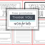 Printable Thank You Cards For Kids   The Kitchen Table Classroom | Thank You Card Free Printable Template