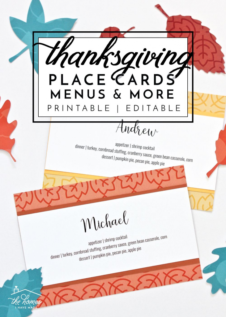 Printable Thanksgiving Place Cards, Menu Cards, Thankful Cards And | Printable Thanksgiving Place Cards