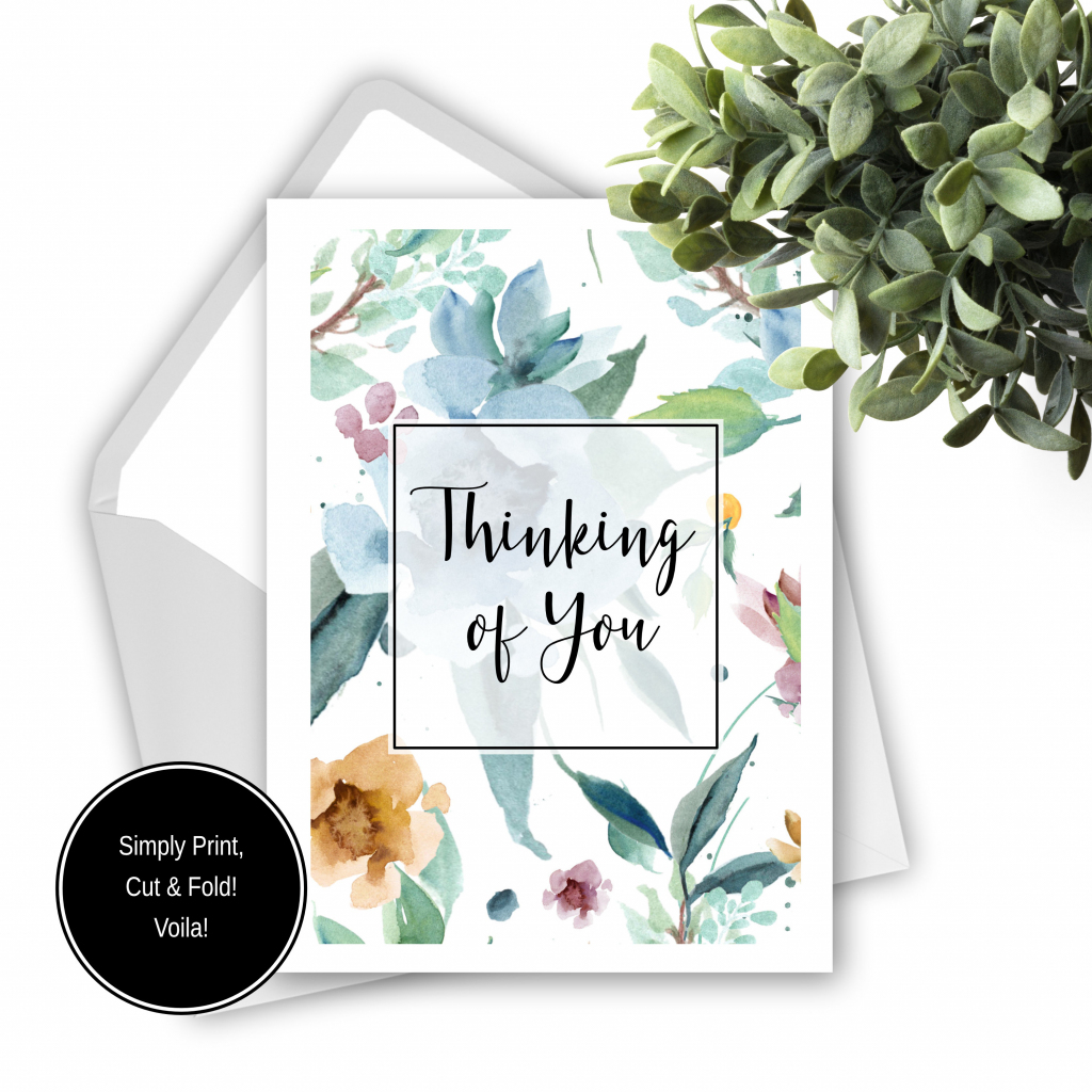 Printable Thinking Of You Card Pastel Floral Greeting Card | Etsy | Printable Thinking Of You Cards