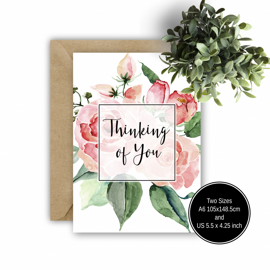 Printable Thinking Of You Card Pink Floral Greeting Card | Etsy | Printable Thinking Of You Cards