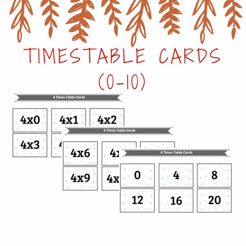 Printable Times Table Cards 0 To 10 Times; Kids Activities And Learning | Times Table Cards Printable