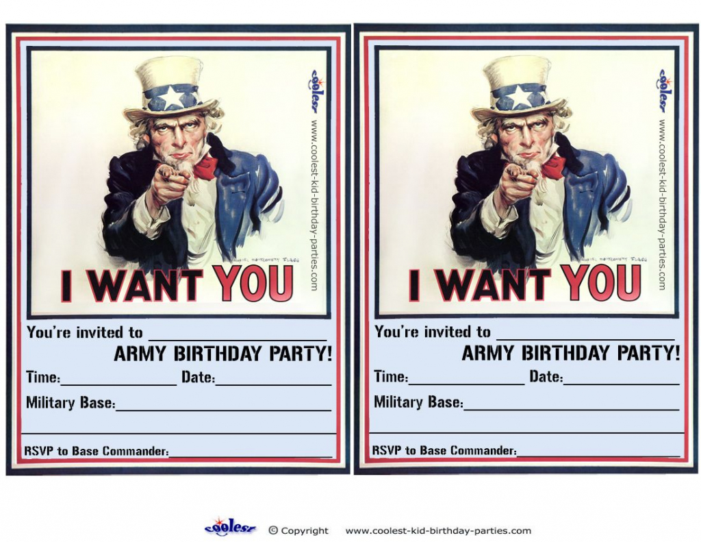 Printable Uncle Sam Invitations - Coolest Free Printables | Awsome | Army Birthday Cards Printable