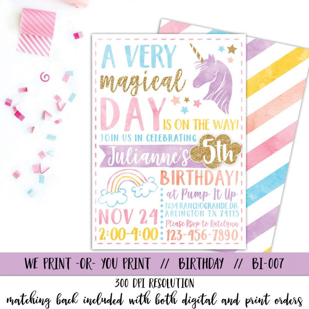 Printable Unicorn Invitation, Unicorn Party Invitation, Magical | 7Th Birthday Invitation Card Printable