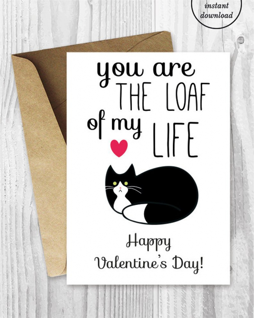 Printable Valentine Card Funny Cat Valentines Day Card | Etsy | Etsy Printable Valentines Cards
