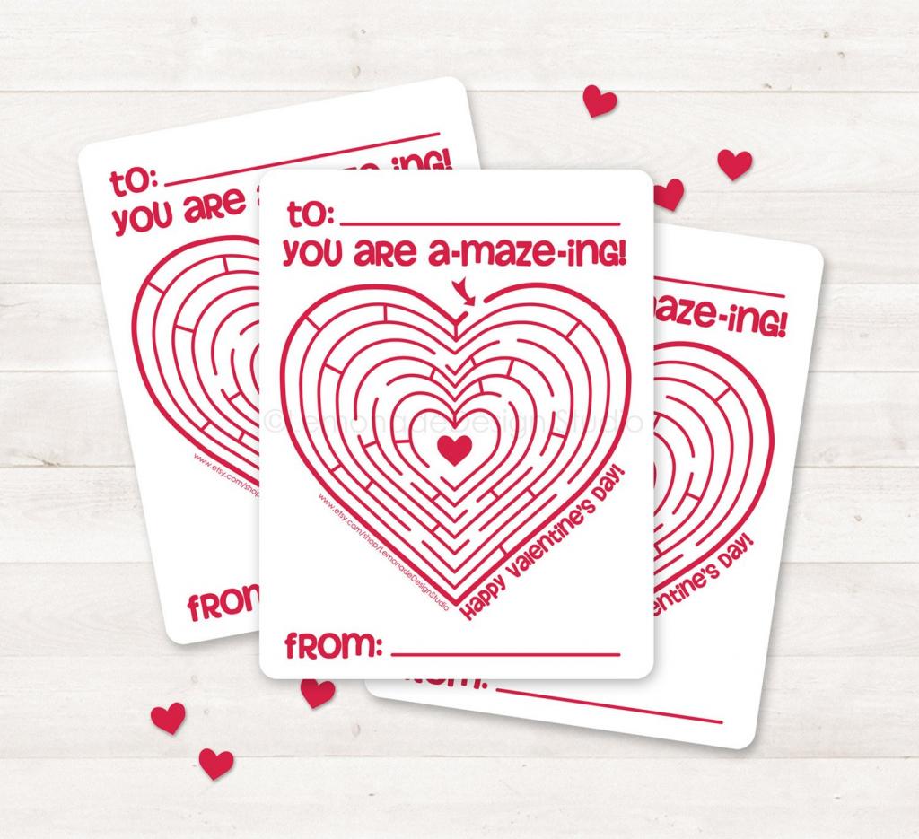 Printable Valentine Card Kids Valentine Card Valentine Maze | Etsy | Etsy Printable Valentines Cards