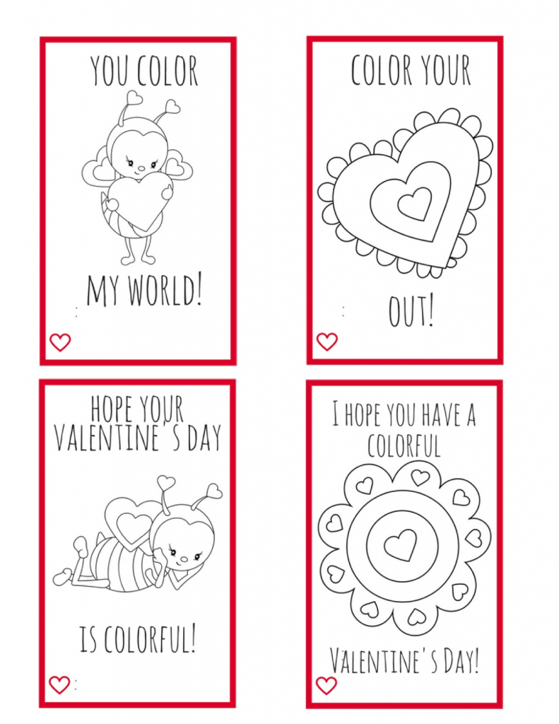 Printable Valentine Cards For Kids--Perfect For Kids To Make For | Printable Valentine Cards To Color