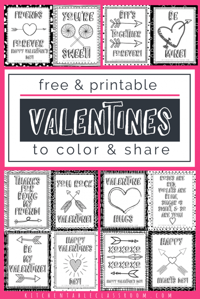 Printable Valentine Cards To Color | Art For Homeschoolers | Diy | Printable Valentine Cards To Color