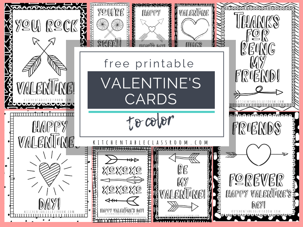 Printable Valentine Cards To Color - The Kitchen Table Classroom | Printable Valentines Day Cards To Color