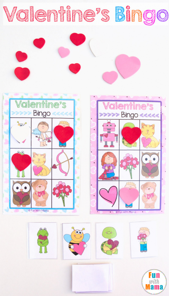 Printable Valentine's Bingo Game - Fun With Mama | Shapes Bingo Cards Printable
