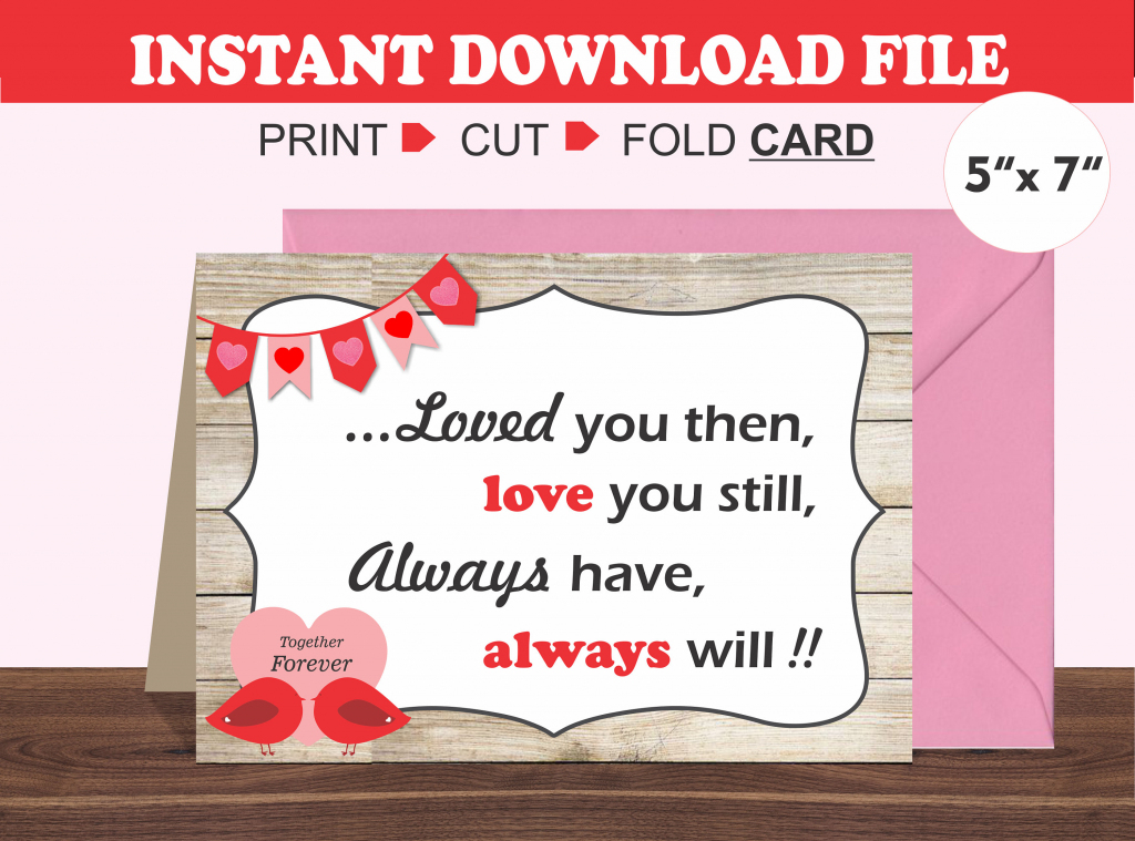 Printable Valentine's Day Card/ Romantic Card/ Husband/ | Etsy | Printable Valentines Day Cards For Husband
