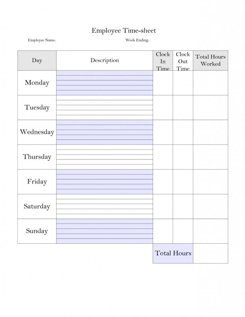 Printable Weekly Employee Time Card - Google Search | Construction | Free Printable Time Cards