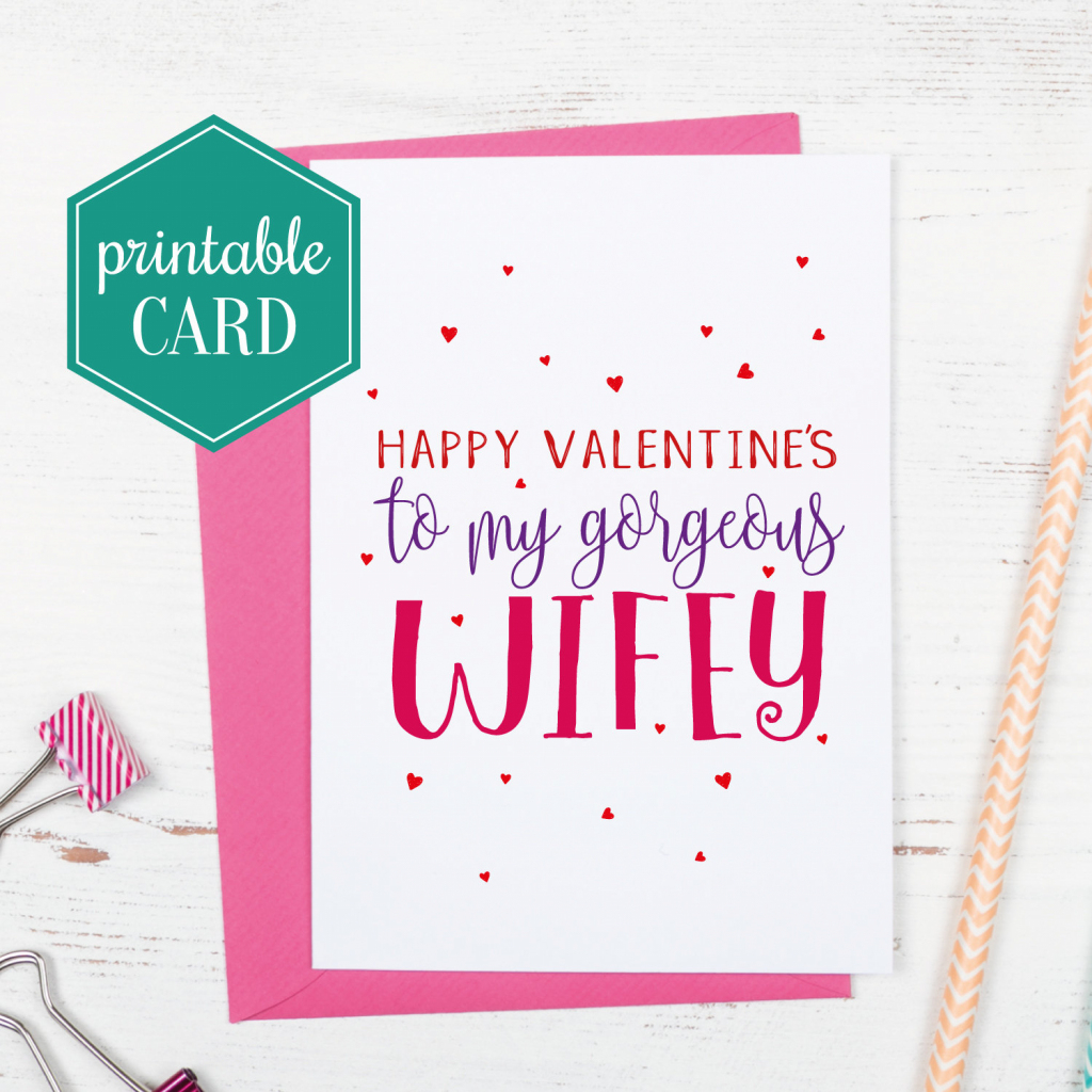 Printable Wife Valentines Card Gorgeous Wifey Valentines | Etsy | Valentines Cards For Her Printable