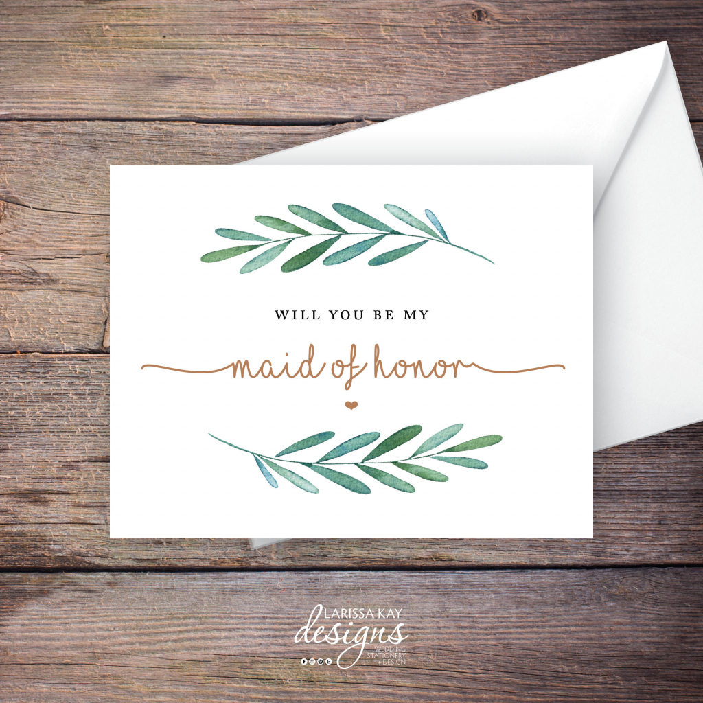Printable Will You Be My Maid Of Honor Card Greenery Instant | Etsy | Free Printable Will You Be My Maid Of Honor Card