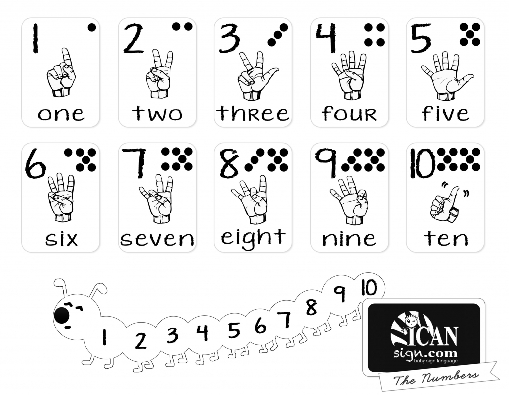 Printer-Friendly Asl Numbers Chart - Free Printable From Icansign   Sign Language Flash Cards Printables
