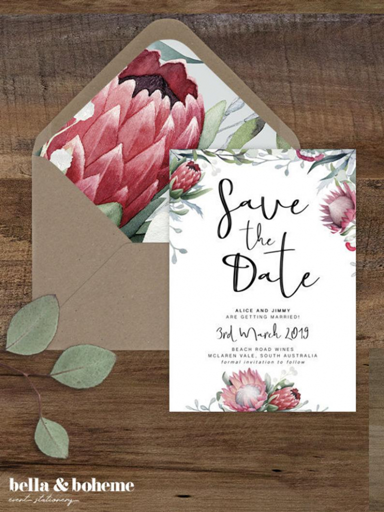 Protea Save The Date Card/ Printable Save The Dates/ Wedding | Etsy | Printable Save The Date Wedding Cards