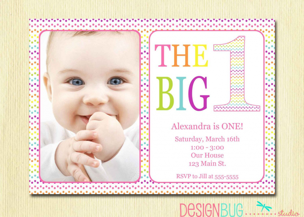 Rainbow First Birthday Invitation Baby Girl - Diy Photo Printable | Printable 1 Year Old Birthday Card