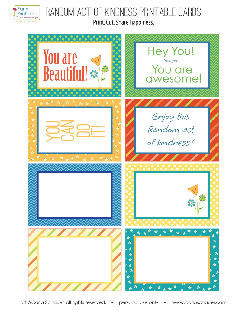 Random Act Of Kindness Free Printables | Carla Schauer Designs | Free Printable Kindness Cards
