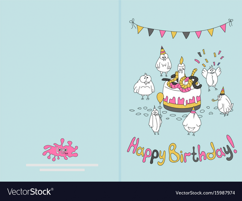 Ready For Print Happy Birthday Card Design With Vector Image | Happy Birthday Card Printable