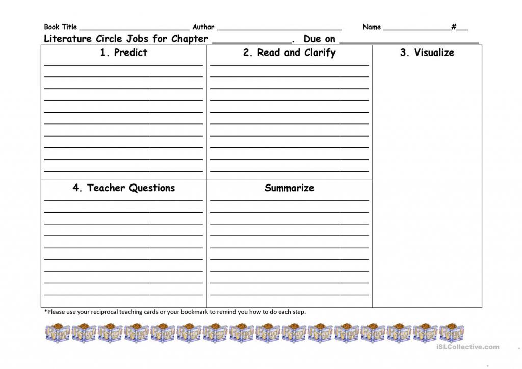 Reciprocal Teaching Literature Circle Worksheet Worksheet - Free Esl | Reciprocal Reading Cards Printable