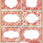 Red And Gold Damask Printable Labels & Tags For Gift Tags | Etsy | Free Printable Damask Place Cards