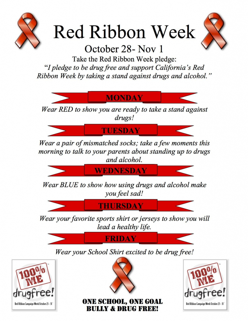 Red Ribbon Week Flyer Spirit Days Ideas | Pta Resources & Ideas | Free Printable Drug Free Pledge Cards