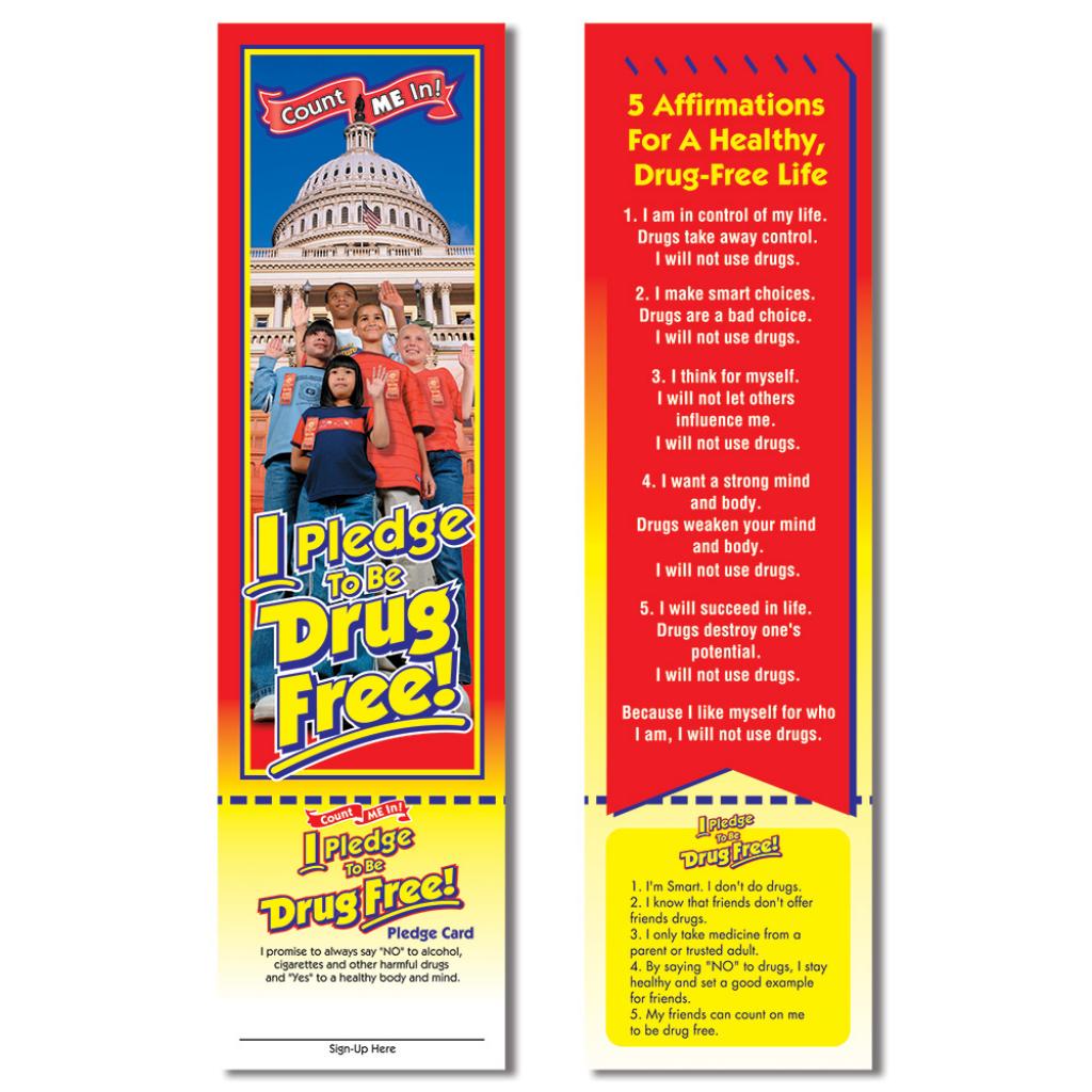 Red Ribbon Week - I Pledge To Be Drug Free! Bookmark | Free Printable Drug Free Pledge Cards