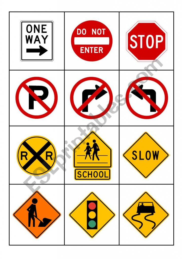 Road Signs - Esl Worksheetmytijana | Printable Road Signs Flash Cards
