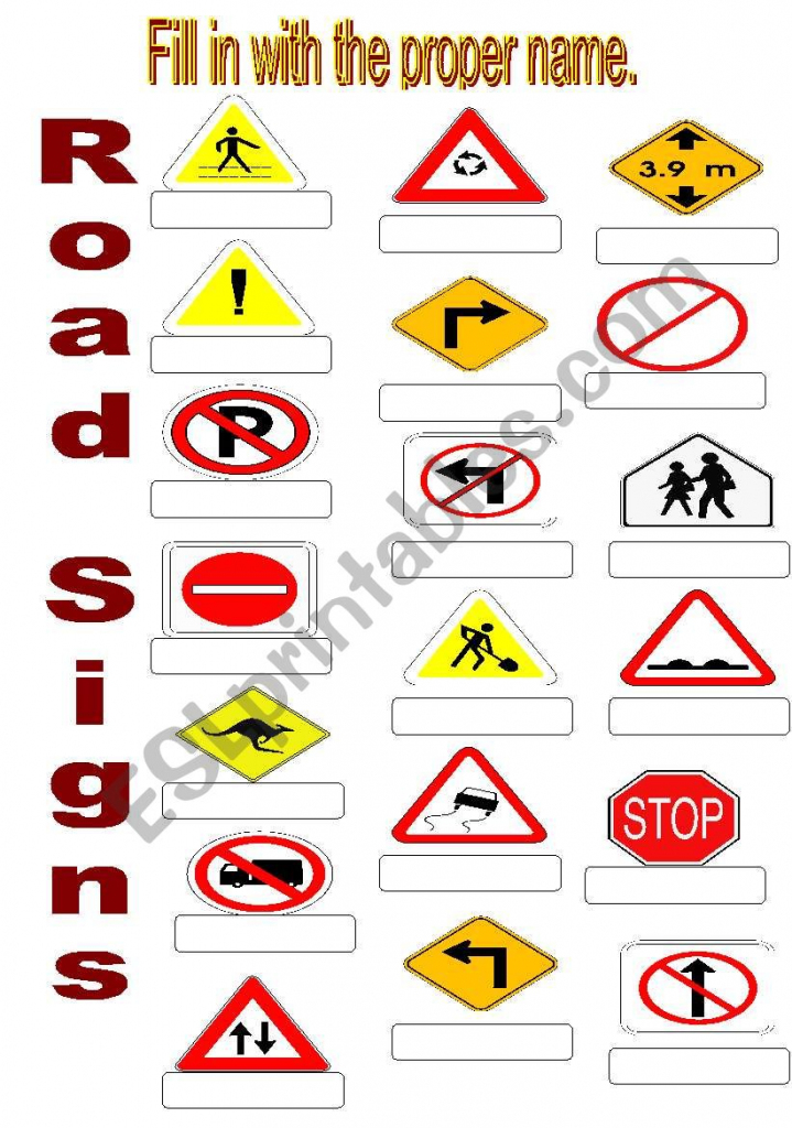 Road Signs - Esl Worksheetsuda   Printable Road Signs Flash Cards