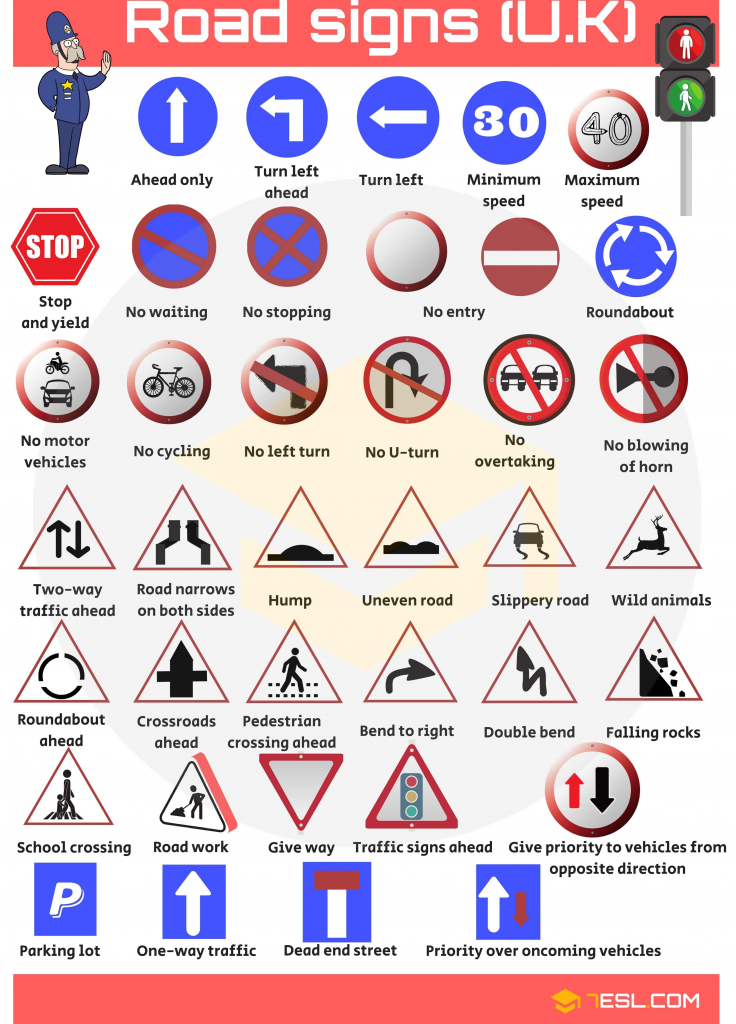 Road Signs, Traffic Signs, Street Signs With Pictures   Vocabulary   Printable Road Signs Flash Cards