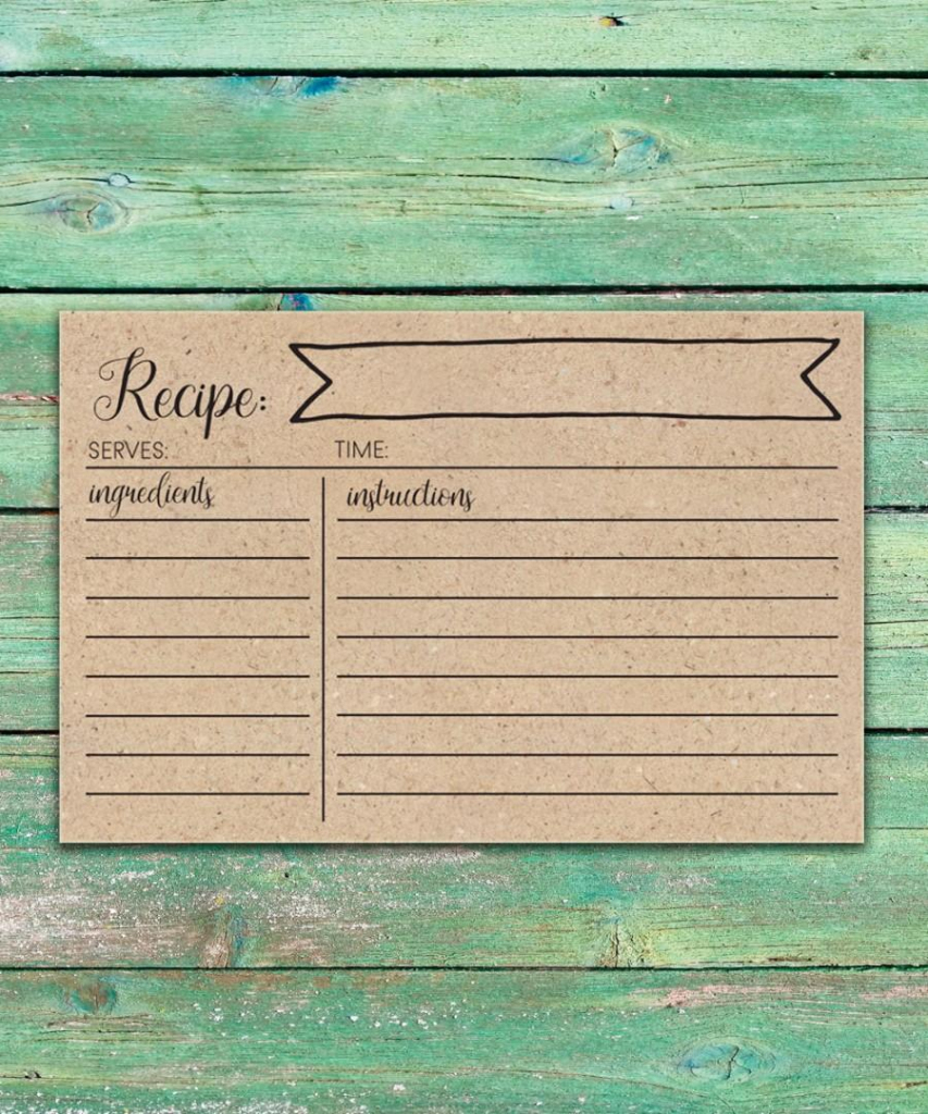 Rustic Bridal Shower Recipe Cards Printable Recipe Cards 4X6 Rustic | Printable Vintage Recipe Cards