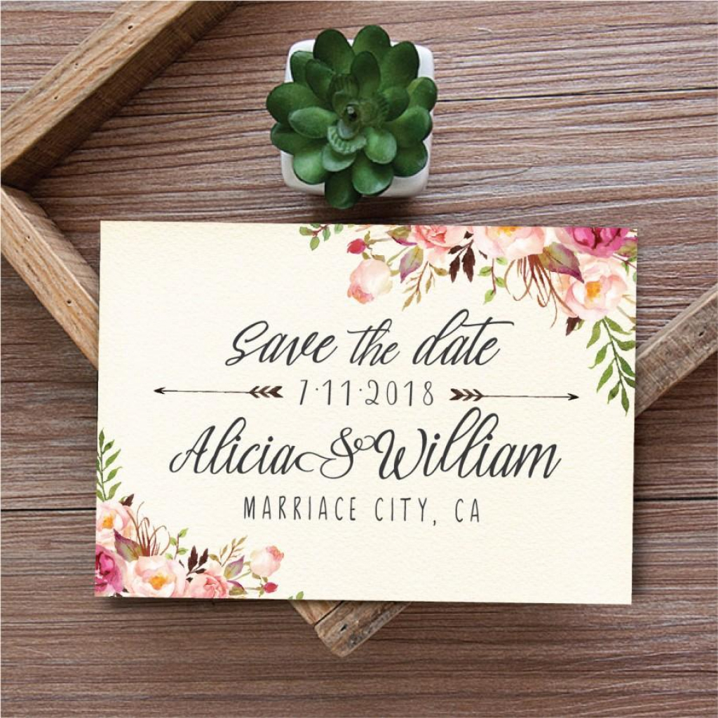Save The Date Template, Printable Save The Date Card, Boho Save The | Printable Save The Date Wedding Cards