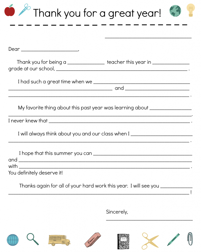 Say Thanks To Teachers With A Fill-In Note From Your Child | Thank You Card To Teacher Printable