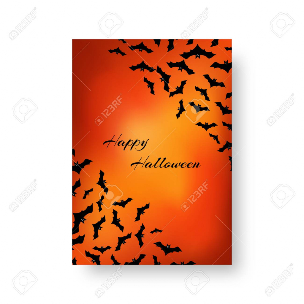 Scary Greeting Card Template With Bats For Festive Halloween | Free Online Christmas Photo Card Maker Printable