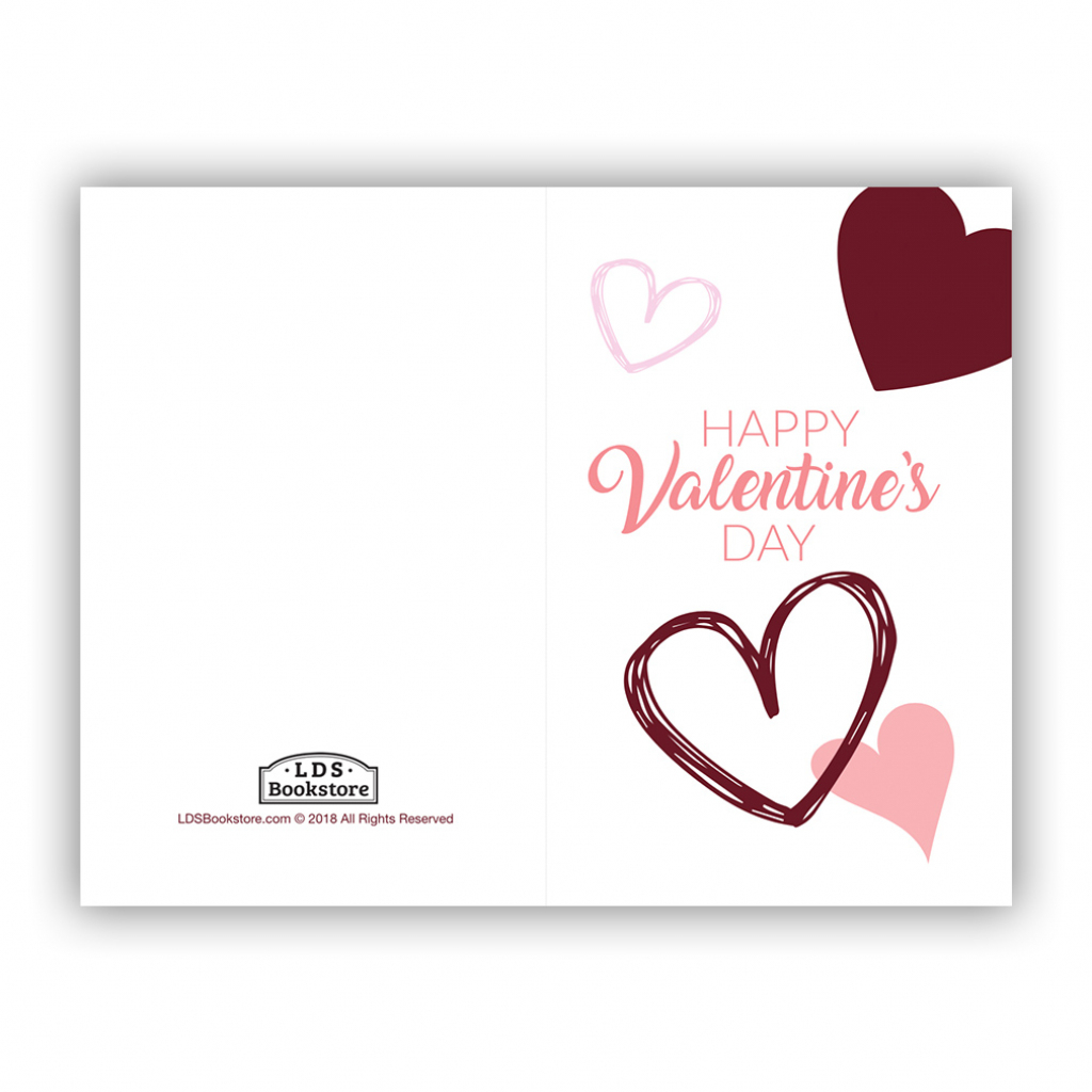 Scattered Hearts Valentine's Day Card - Printable In Free Lds   Happy Valentines Day Cards Printable