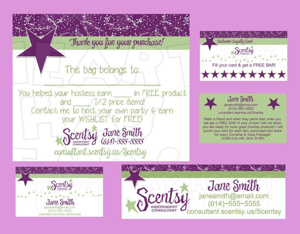 Scentsy Business Bundle Custom Printable Digital Business Cards, Bag | Free Printable Scentsy Business Cards
