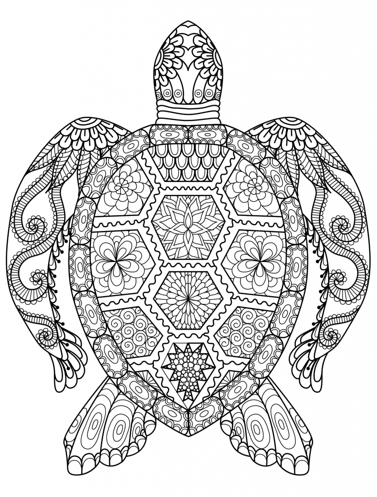 Sea Turtle Coloring Page For Adults For Free Download | Cards | Free Printable Coloring Cards For Adults