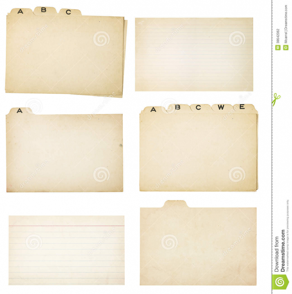 Set Of Six Vintage Tabbed Index Cards Stock Photo - Image Of Note | Free Printable Blank Index Cards