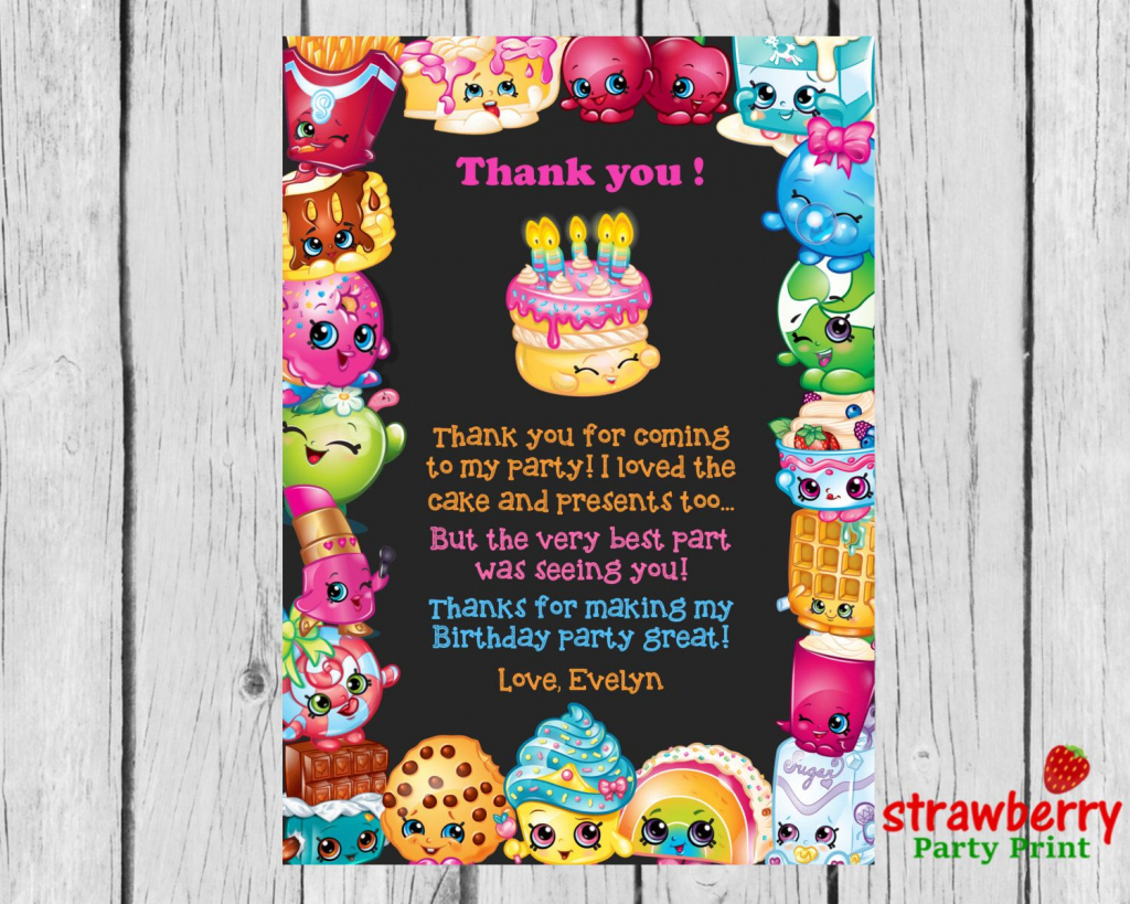 Shopkins Thank You Cards, Shopkins Birthday Thank You Notes, Thank | Free Printable Shopkins Thank You Cards