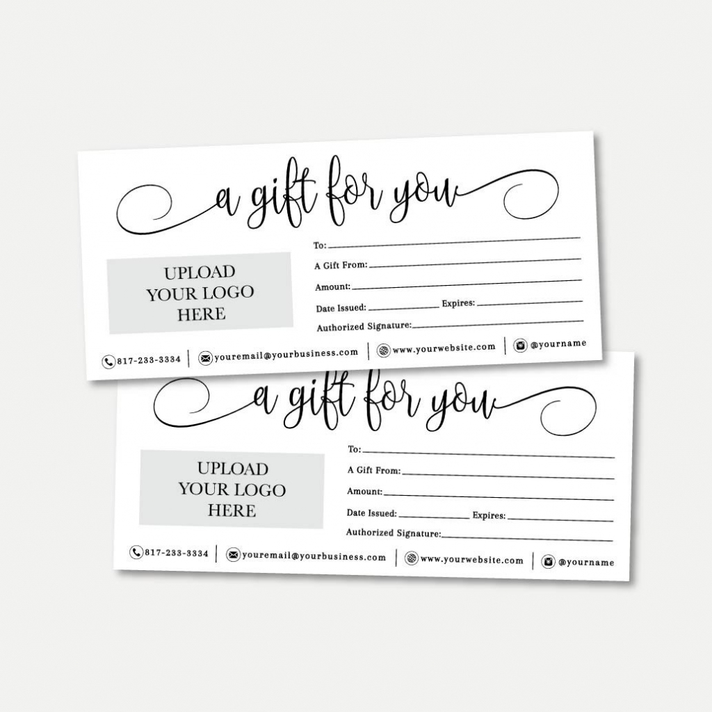 Simple Black And White Script Gift Certificate Template | Etsy | Printable Gift Card Template