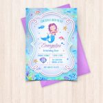 Smartly Printable Watercolor Mermaid Birthday Invitations Free Thank | Free Printable Mermaid Thank You Cards