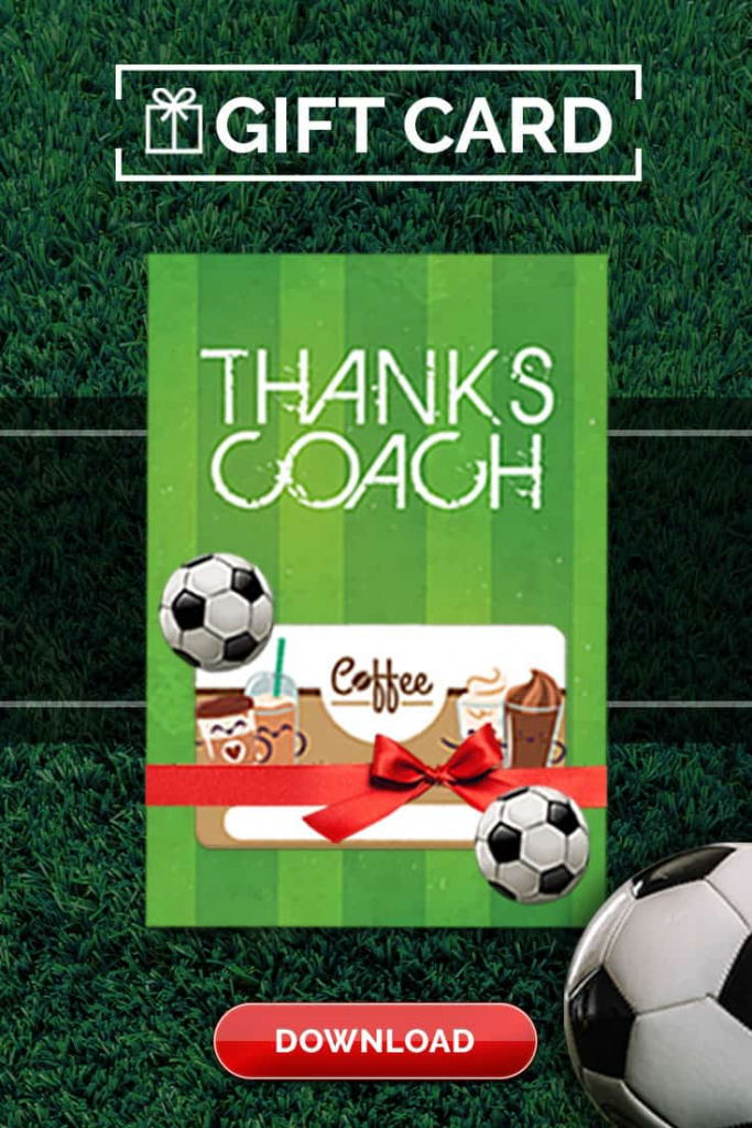 Soccer Coach Gift Thank You Card - Free Printable Download | Free Printable Soccer Thank You Cards