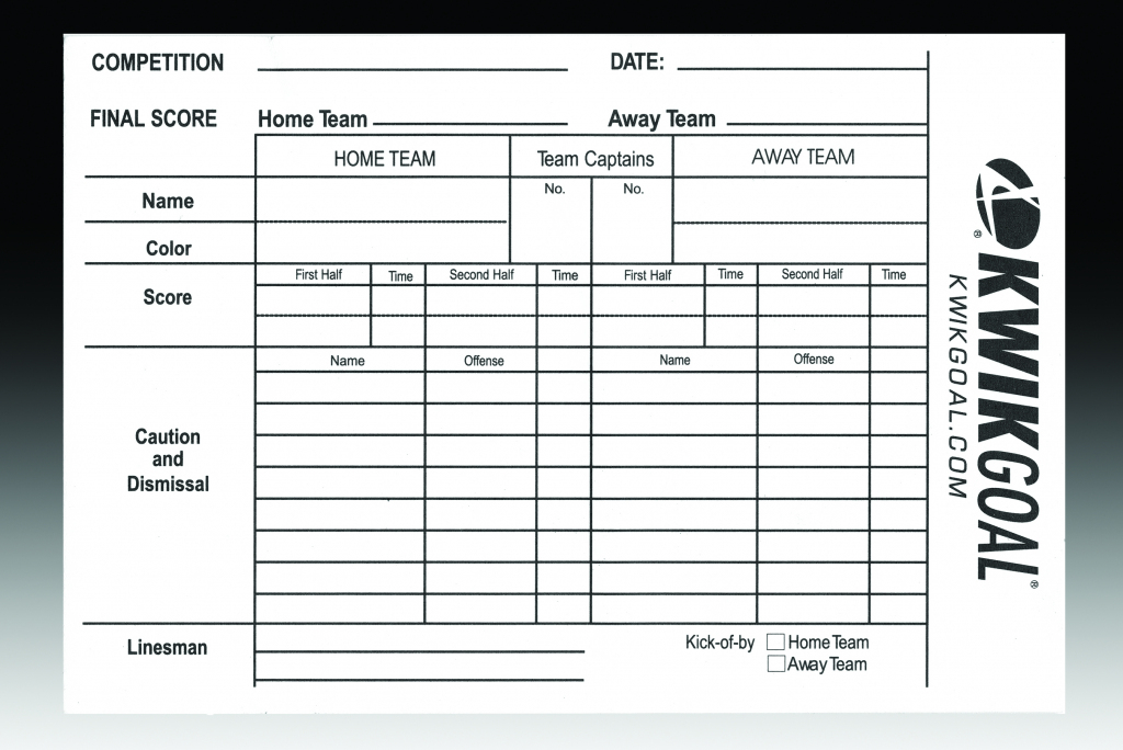 Soccer Referee Score Sheets - Gopher Sport | Printable Referee Score Cards
