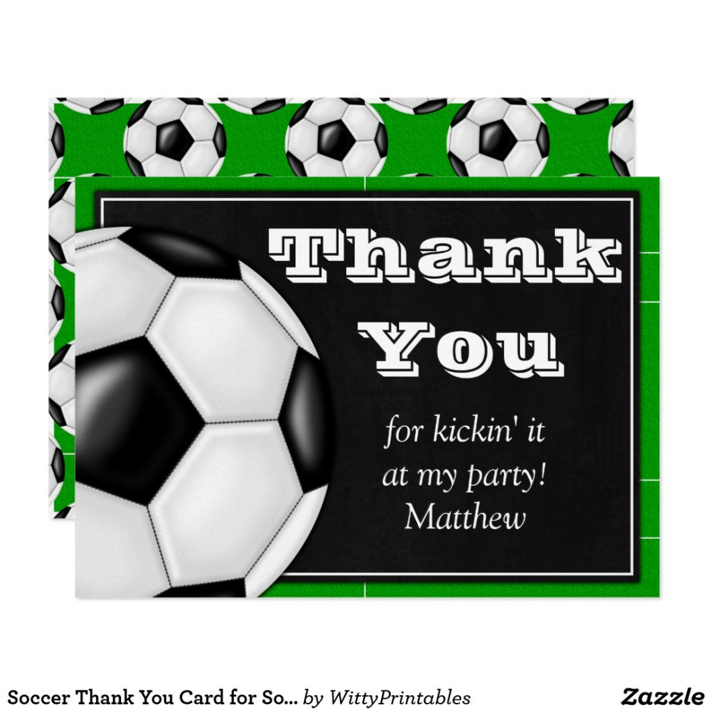 Soccer Thank You Card For Soccer Players | Zazzle | Cool Stuff | Football Thank You Cards Printable