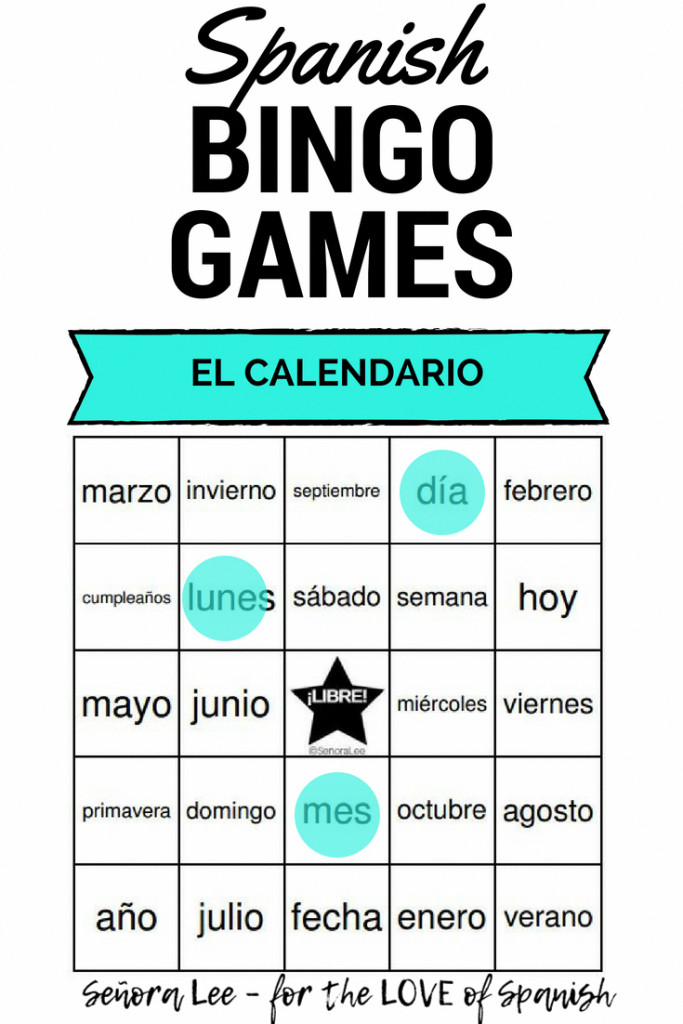 Spanish Calendar Vocabulary Bingo - 40 Printable Bingo Cards To | Vocabulary Bingo Cards Printable