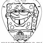 Spongebob Valentine Coloring Page | Valentine's Day | Valentine | Spongebob Valentine Cards Printable