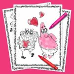Spongebob Valentine's Day Coloring Pack | Nickelodeon Parents | Spongebob Valentine Cards Printable
