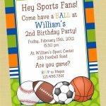 Sports Printable Birthday Invitation, Personalized Sports Birthday | Printable Sports Birthday Cards
