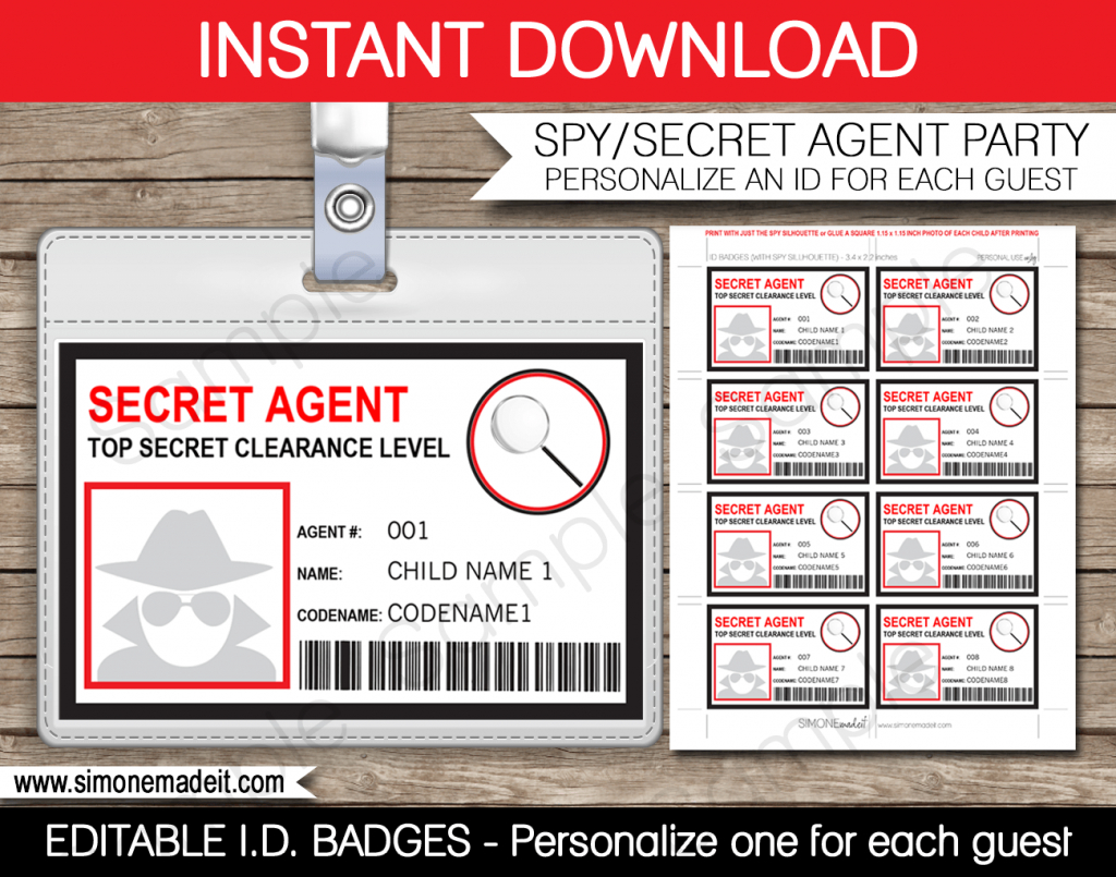 Spy Or Secret Agent Badge Template – Red | Girl Scouts | Spy | Printable Spy Id Cards