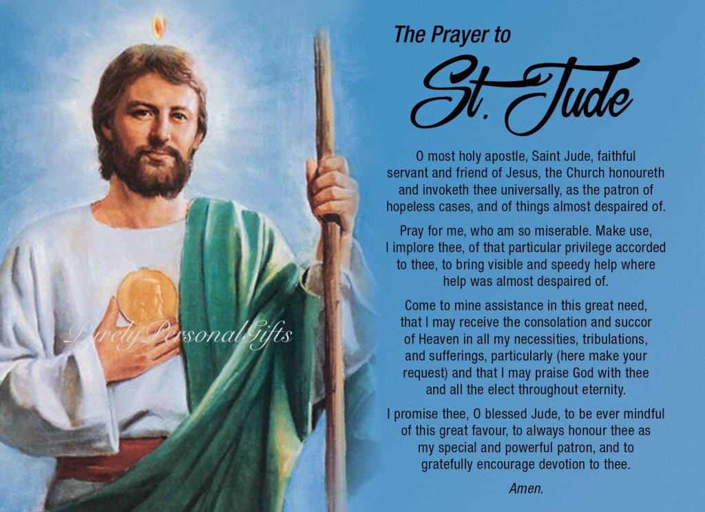 St Jude Printable Saint Jude Prayer Prayer Card Pocket | Etsy | St Jude Printable Cards